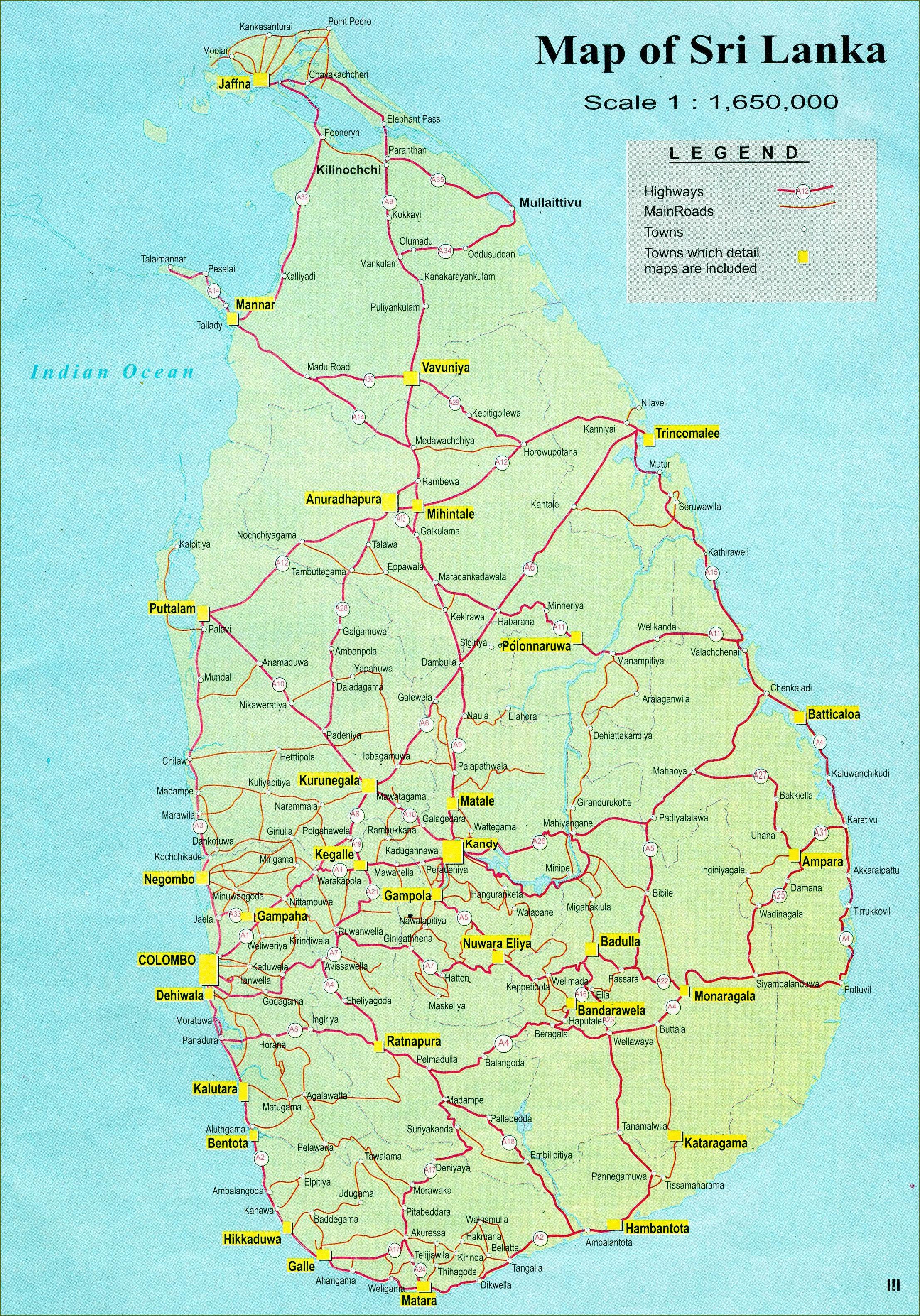 Sri Lanka Kart Med Avstand Kart Over Sri Lanka Kart Med Avstand